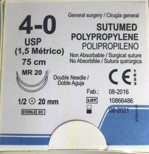 Sutumed Polypropylene 4 0 1 2 20mm Double Armed Surgical Suture