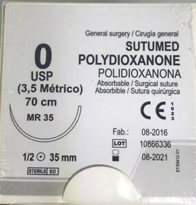 Sutumed Polydioxanone 0 1 2 35mm Taper Point Surgical Suture