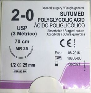 Sutumed Polyglycolid Acid 2 0 1 2 25mm Taper Point Surgical Suture