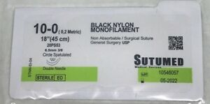 Sutumed Black Nylon Monofilament 10 0 3 8 6 5 Mm Spatulated Double Armed Suture
