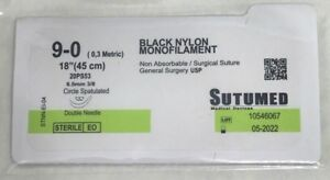 Sutumed Black Nylon Monofilament 9 0 3 8 6 5 Mm Spatulated Double Armed Suture