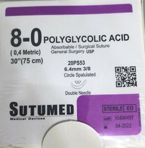 Sutumed Polyglycolid Acid 8 0 3 8 6 4mm Spatulated Double Armed Surgical Suture