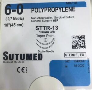 Sutumed Polypropylene 6 0 3 8 13mm Double Armed Surgical Suture