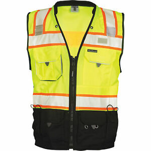 Ml Kishigo Men s Class 2 High Vis Surveyors Vest Lime black Medium