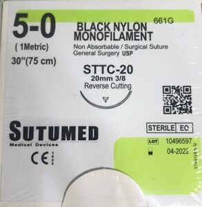 Sutumed Black Nylon Monofilament 5 0 3 8 20mm Surgical Suture
