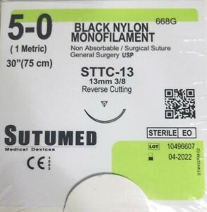 Sutumed Black Nylon Monofilament 5 0 3 8 13mm Surgical Suture