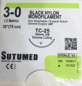 Sutumed Black Nylon Monofilament 3 0 3 8 25mm Surgical Suture