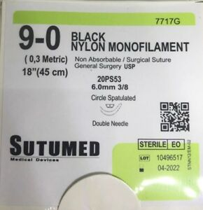Sutumed Black Nylon Monofilament 9 0 3 8 6 0mm Spatulated Double Needle Suture
