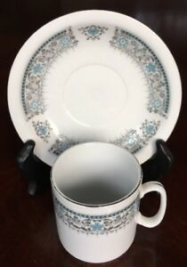 Blue And Gray W Silver Tea Cup And Saucer Made In China