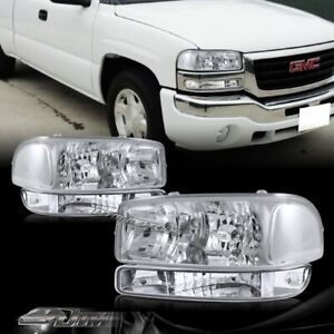 For 99 06 Gmc Sierra 1500 2500 Chrome Headlights bumper Clear Reflector Lamps