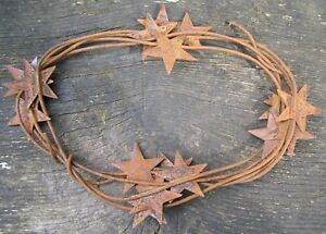 72 Rustic Primitive Rusty Tin Stars 2 Wrapped Wire Garland 6 Feet Vintage