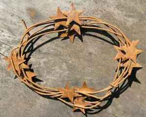 72 Inch Rustic Primitive Rusty Tin Stars 1 Wrapped Wire Garland 6 Feet Vintage