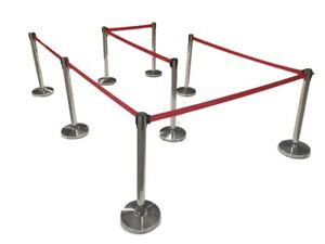 8 Pack Of Retractable Crowd Control Barrier Posts With Black Or Red 6 6 Strap
