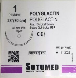 Sutumed Polyglactin 1 1 2 35mm Taper Point Surgical Sutures