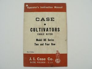 Vtg J i Case Cultivators Eagle Hitch Be Series 2 4 Row Owners Manual 1951