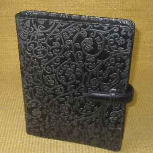 Franklin Covey Compact Black Leather Raised Vine Planner Binder 1 Rings
