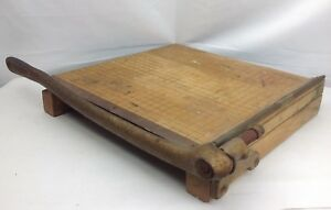 Vintage Ingento No 4 Wood Metal 12 Paper Cutter Guillotine Trimmer