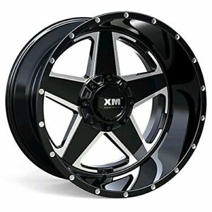 4 Four 22 Wheels Xtreme Mudder Xm 315 22x12 44 Gloss Black Milled Edge