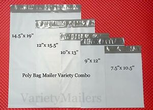 50 Poly Bag Variety Pack 5 Med To Large Sizes Self sealing Shipping Bags