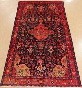 Persian Tafresh Tribal Hand Knotted Wool Navy Blue Red Area Oriental Rug 5 X 9