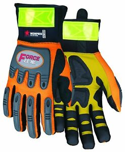 Mcr Safety Hv100xl Forceflex High Visibility Clarino Synthetic Leather Gloves