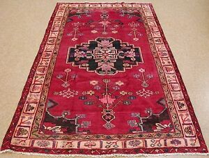 Persian Luri Tribal Hand Knotted Wool Red Pink Ivory Lavender Oriental Rug 5 X 8