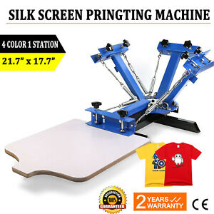 4 Color 1 Station Silk Screen Printing Machine Press Equipment T shirt Diy
