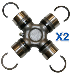 2 Driveshaft Universal Joint Kit Front Rear Greasable W Snap Rings