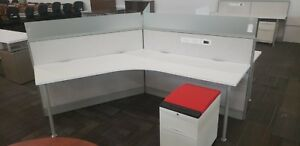 Teknion Leverage 120 Degree Stations White Workstations With 1 Mobile File