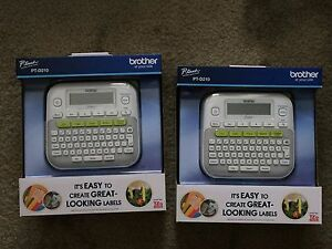2 Brother P touch Pt d210 Label Maker Compact Printer W Tape New In Box