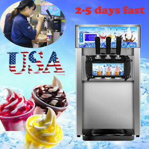 Usa 18l h Soft Ice Cream Cones Making Machine Commercial Maker Freezer 3 Flavors
