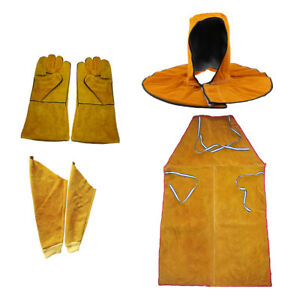 Set Heat Burn Resistant Leather Welding Apron Gloves Sleeves Head Cover