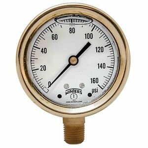 Winters Pbc Series Forged Brass Single Scale Pressure Gauge 0 160 Psi 2 1 2