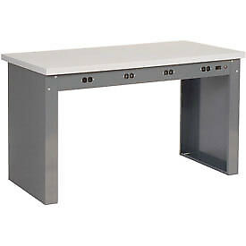 72 w X 36 d Panel Leg Workbench With Power Apron And Esd Square Edge Top