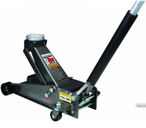 Pittsburgh 3 Ton Steel Heavy Duty Floor Jack With Rapid Pump Extra Wide Caster