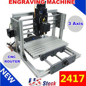 Mini 3 axis Cnc 2417 Router Engraver Diy Carving Machine Pcb Pvc Milling Wood Us