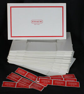 Lot Of 11 Coach Gift Boxes Coach Stickers Logo Red 6 X 10 X 2 5 Tall New