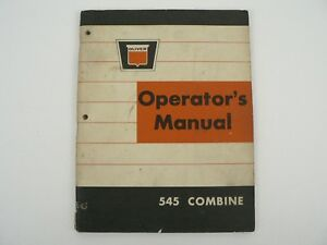 Vintage Oliver 545 Combine Operators Manual Maintenance Trouble Shooting 1965