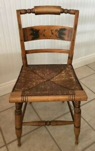 Antique Hitchcock Cane Seat Stencil Back Side Chair Great Patina
