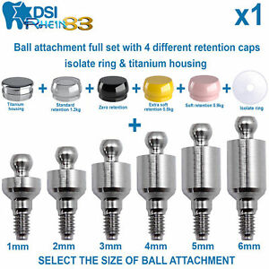 Dental Implant Ball Attachment Kit 4 Silicone Caps Isolate Ring