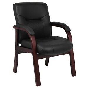 Black Top Grain Leather Guest Visitors Chair Upholstered Cushion Wooden Frame