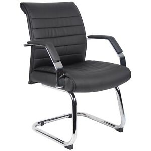 Black Mid Curved Back Leather Guest Visitors Chair Upholstered Standard Seat New