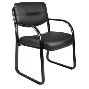 Black Reception Guest Visitors Chair Leather Bonded Upholstered Steel Frame Seat