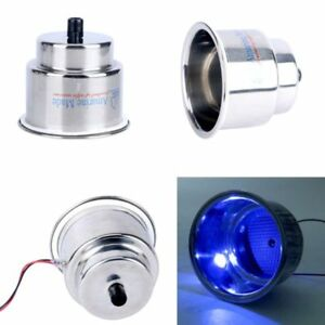 3x Led Blue Stainless Cup Drink Holder With Drain Led Blue Marine Boat Eam