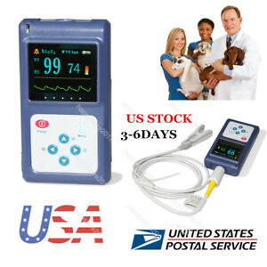 Us Seller Handheld Veterinary Vet Color Pulse Oximeter Spo2 Monitor Pulse Rate