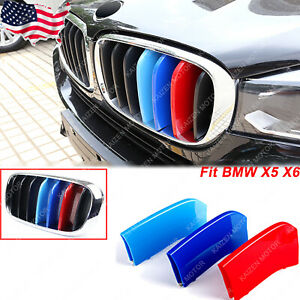 M colored Kidney Grille Insert Trim Tri color Strips Fit Bmw X5 X6 2015 up Grill