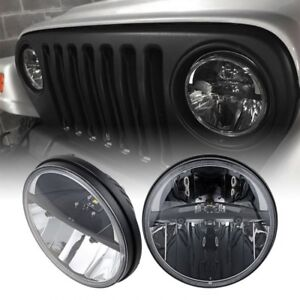 Pair 7 Cree Round Led Headlight Hi Lo Beam For 97 18 Jeep Wrangler Jk Tj Cj Lj