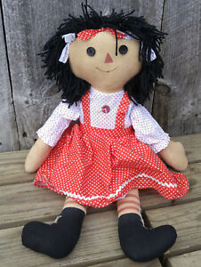 Vintage Primitive Style Country Rustic Raggedy Ann Doll Black Hair Button Eyes