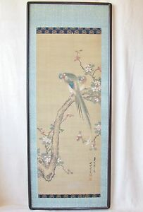 Antique Signed Chinese Painting Of Birds On Flowering Branch Art 30 X 12