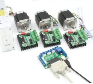 3 Axis Controller Kit Nema23 270oz in Cnc Stepper Motor Dual Shaft 76mm 3a